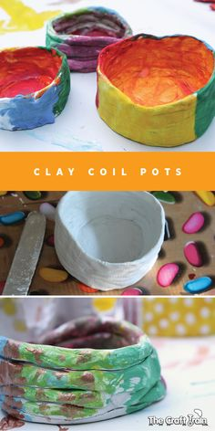Clay Coil Pots - super simple and easy & fun kids homemade gift idea Clay Projects For Kids, Kids Clay, Art Projects, Clay Crafts For Kids, Spring Projects, School Projects, Art Activities For Kids, Art For Kids, Babysitting Activities