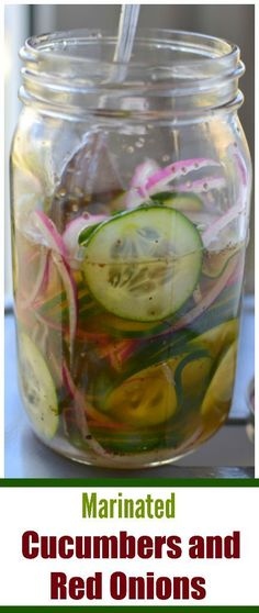 These mouth watering Marinated Cucumbers and Red Onions can be prepared in 'bout five minutes and  calls for six ingredients most of which you may have on hand.  You can make this recipe up to a day in advance.