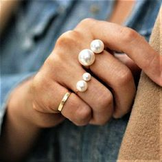 Simulated Pearl Size Adjustable Ring