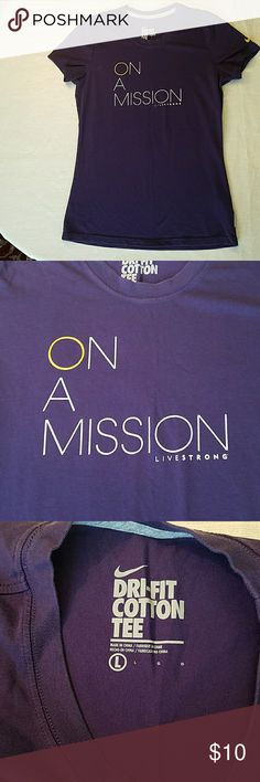 """Nike on a mission t-shirt Deep purple dri-fit t-shirt. Words in white with yellow """"o"""" and swoosh on the left sleeve.  Hood used condition from pet and smoke free home. Nike Tops Tees - Short Sleeve"""