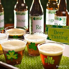 Set up a beer tasting station for a fun take on St. Patricks Day drinks :)