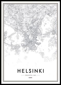 Helsinki map, poster in the group Posters & Prints at Desenio AB Helsinki, Black And White Posters, Black And White Pictures, Cities In Finland, Wall Prints, Poster Prints, Gold Poster, Buy Posters Online, World Map Poster