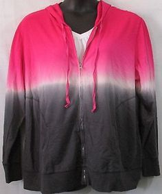 Fashion Bug  NWT Plus Size Pink White Grey/Gray Jacket With Hood Size 3x