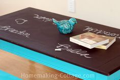 Use chalk board paint and bright colors to make the perfect table that your children CAN draw on.