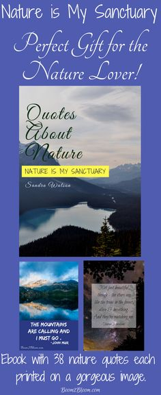 Description Nature is My Sanctuary eBook contains 38 quotes about the exquisite beauty and healing power of nature. Each quote is written on a gorgeous image taken in nature.  Print off as an eBook or by individual pages for framing. 40 pages. #NatureeBook #Nature #NatureQuotes #EBookNature #Mountains #Ocean #Forest #Woods #Flowers #Trees #Stars #Universe