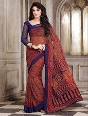 Orange & Blue Color Chiffon Daily Wear Sarees : Surani Collection YF-31805