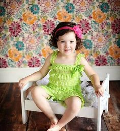 Lime Green Shabby Chic Baby Girl Lace Romper - Lime Green - Grass Green - Peach - Light Pink  Tier Ruffles Vintage Chic Lace Baby Girl Romper Perfect for weddings, easter, photo shoot and other special events Material: Lace, elastic, satin Available from 0 - 24 months *Headband is not included