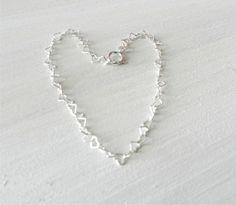 Tiny heart bracelet in sterling silver lovely by LemonSweetJewelry, $17.00