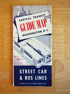 1954 Capital Transit Street Car and Bus Lines Guide Map.