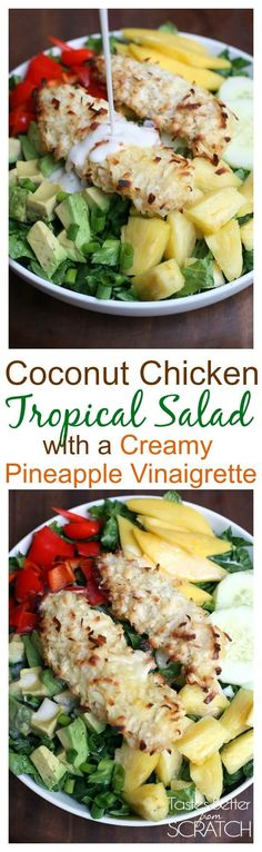 Coconut Chicken Tropical Salad with Crea.- Coconut Chicken Tropical Salad with Creamy Pineapple Vinaigrette from TastesBetterFromS… Healthy Salads, Healthy Eating, Healthy Recipes, Salads With Meat, Salad With Fruit, Whole 30 Salads, Lunch Snacks, Lunches, Coconut Chicken