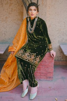 Embroidery Suits Punjabi, Embroidery Suits Design, Embroidery Fashion, Stylish Dresses, Simple Dresses, Stylish Suit, Designer Wear, Designer Dresses, Velvet Dress Designs