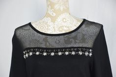 Cable & Gauge Womens Medium Black Embellished Shirt Top Semi Sheer Neck NEW #CableGauge #KnitTop #Casual