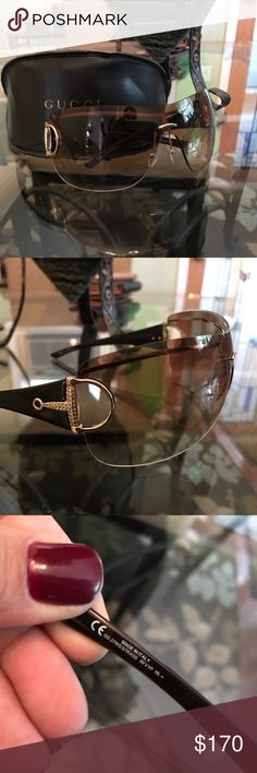 Gucci Sunglasses Brand new without tags, Gucci Sunglasses. Rhinestone detail. Comes with original case and cleaning cloth. Case is a little creased due to storage, please check out pics before buying. Gucci Accessories Sunglasses