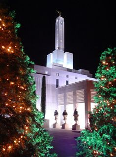 Madrid Spain Temple with Christmas lights. #Mormon #LDS #Temple