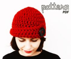 Free Pattern: Red Bulky Skullcap with Big Black Button