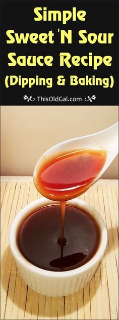 This Simple Sweet 'N Sour Sauce Recipe makes a great dipping and cooking sauce with little effort and minimal ingredients. via @thisoldgalcooks