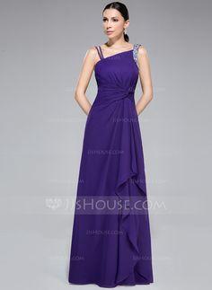 Sheath/Column Watteau Train Chiffon Prom Dress With Ruffle Beading (018050420)