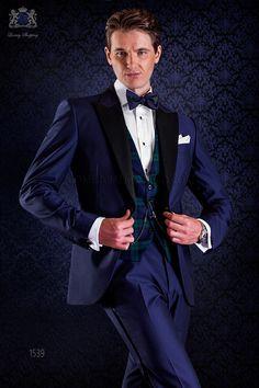 Bräutigam blaue Smoking Anzug mit spitzen Kontrast Revers und 1 Knopf. Wollmischung Stoffe. Tuxedo 1539 Kollektion Black Tie Ottavio Nuccio Gala.