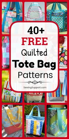 Free Quilted Tote Bag Patterns & DIY Projects Tote Bag Patterns to sew. free Quilted Tote Bag Patterns, diy sewing projects and tutorials, including lined styles. Many fun patchwork ideas great for use with charm packs and jelly rolls. Bag Sewing Pattern, Bag Pattern Free, Bag Patterns To Sew, Sewing Patterns Free, Stitching Patterns, Wallet Pattern, Tote Pattern, Diy Sewing Projects, Sewing Projects For Beginners