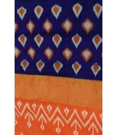 Orange Handloom Ikat Silk Saree