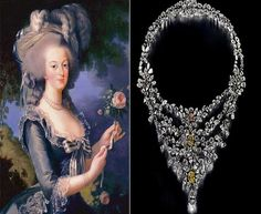 Brilliant white diamonds of 8.05 carats with drop diamonds of 7.06 carats, two rare yellow diamonds and an exceptional pink diamond, all set in pure platinum. Queen Marie Antoinette, queen of France owned this necklace that has an estimated worth of $3.7 million.