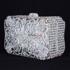 Swarovski Crystals Luxurious Clear Flower Clutch Evening Handbag Purse Bag W