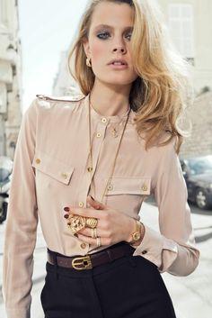 Silk blouse + high-waistpants ❤... I love the military pockets on the blouse!