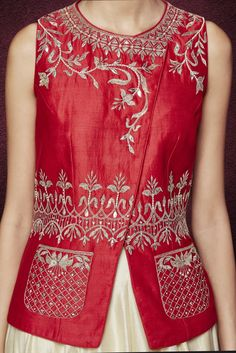 Red Silk Top And Skirt With Gota Patti And Sequins Work