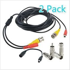 Swann 15m White CCTV BNC Camera Cable x2 Video /& PowerWhite 50ft