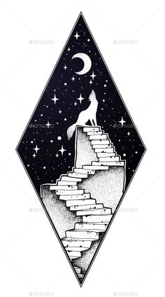 Abandoned Ruin Stairway with a Boy Looking at Moon – Landscapes Nature – Drawing Space Drawings, Pencil Art Drawings, Cool Art Drawings, Art Drawings Sketches, Easy Drawings, Drawings For Boys, Tattoo Mond, Surreal Tattoo, Geometric Wolf