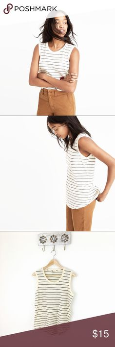 Madewell Whisper Cotton Stripe Muscle Tank Grey and cream stripe, NWT. So easy to layer all year!  Madewell Tops Tank Tops