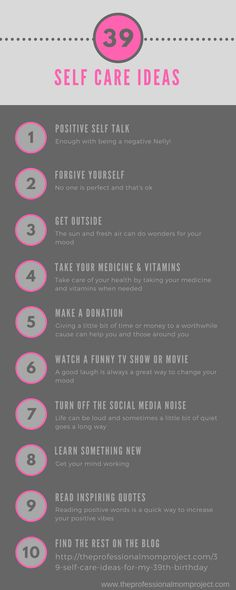 39 Self Care Ideas for My Birthday - The Professional Mom Project