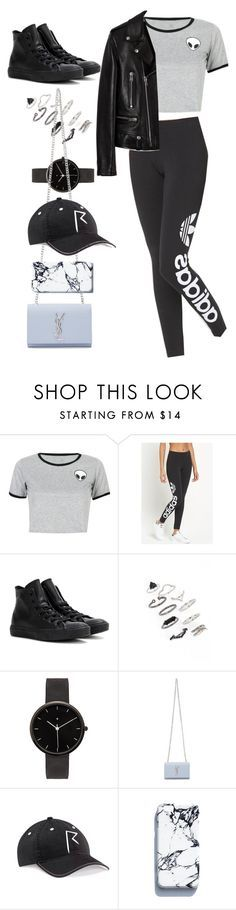 """""""Untitled #9468"""" by katgorostiza ❤ liked on Polyvore featuring WithChic, adidas Originals, Converse, Topshop, I Love Ugly and Yves Saint Laurent"""