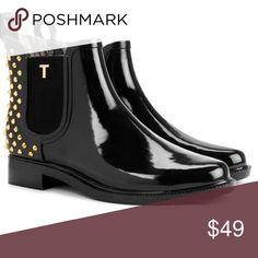 Liddied Chelsea Welly-Black/Gold Studs Easy slip-on wear with pull tab at heel. Dual elastic gore side panels. Logo hardware and stud accent. Cotton lining. Lightly padded footbed. Rubber outsole. Care information: wipe with a damp cloth. Imported. high shine Ted Baker Shoes Winter & Rain Boots