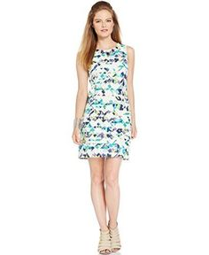 Vince Camuto Womens Tribal Print Jeweled Party Dress Multi 14
