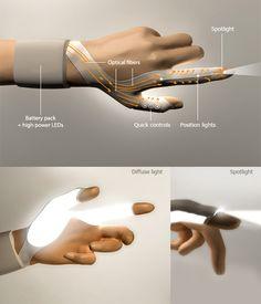Torch white led light glove