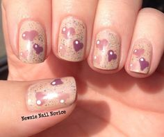 Neutral heart nail art, valentines nails, Elevation Aguja St. Exerpury, free hand hearts, heart nails