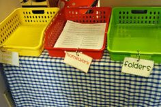 When the students walk in, they drop off their folders, homework and notes for me/office in these bins: