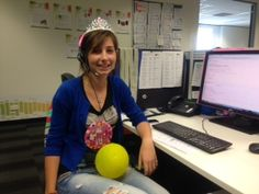 Have we mentioned that we have fun in our office? ;) Here is the beautiful Kate celebrating her birthday in style with tiara, HUGE badge and a decorated desk!