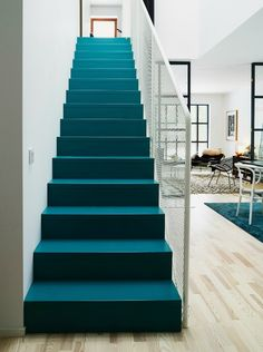 blue stairs staircase house interior wire railing modern home Modern Interior Design, Home Design, Design Ideas, Modern Decor, Contemporary Furniture, Deco Cool, Painted Stairs, Painted Wood, Interior Stairs