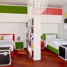 Adorable Kid Bedrooms styling plan - Splendid room styling tips and ideas to create a really exciting and awesome area. Twin Girl Bedrooms, Boy And Girl Shared Bedroom, Shared Bedrooms, Girls Bedroom, Room Divider Ideas Bedroom, Bedroom Decor, Home Room Design, Kids Room Design, Kids Bedroom Furniture