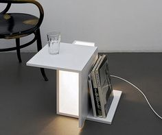 Swiss born and Berlin based designer and architect Clemens Tissi recently developed his first furniture collection, comprising a number of cubic pieces. There was however, one piece in particular that caught my eye. That is the wonderfully minimal Lichtkiste light box, which serves both as a floor lamp and a side table.