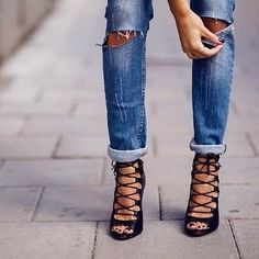 9. Perfect Pairing of Heels and Jeans... very sexy