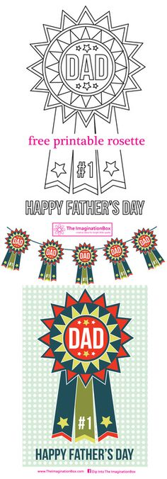 Free printable Father's Day 'Rosette' download. Decorate your own or print the retro inspired artwork to create celebratory bunting and cards for that special Dad, June 21st 2015