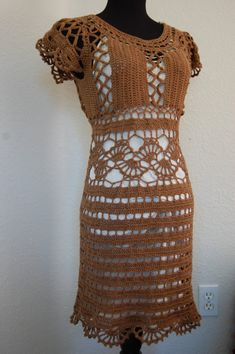 Crochet Dress Cap Sleeve in Brown Cotton/Acrylic size Med/Large