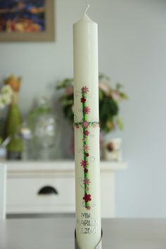 Taufkerze,+Kommunionkerze+von+hand-art-beit+auf+DaWanda.com Hand Art, Easter, Candles, Etsy, Christening, Easter Candle, Easter Activities, Candy, Candle Sticks