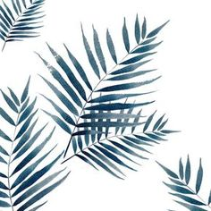 Blue palm watercolor Art Print