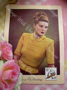 Vintage-1940s-Ladys-Amazingly-Detailed-Collared-Sweater-Knitting-Pattern
