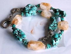 Citrine Turquoise Howlite Nuggets Ketting van Nella's Beauty's op DaWanda.com