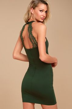 Endlessly Alluring Forest Green Lace Bodycon Dress 5